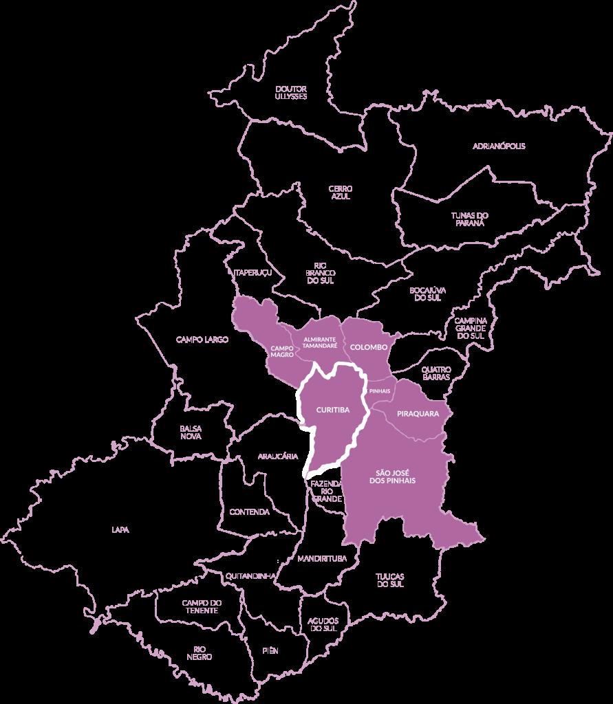 Municípios da região metropolitana de Curitiba atendidos pela Afece. Clique para ampliar.